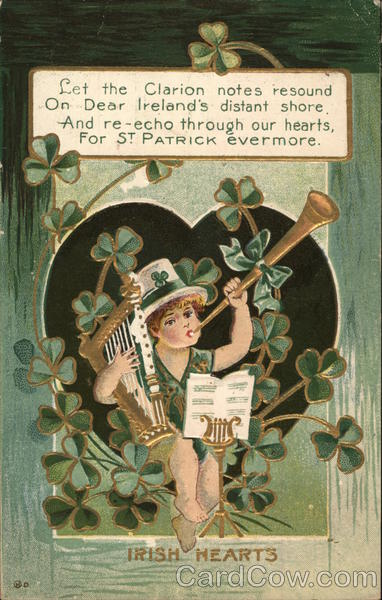 Irish Hearts - leprechaun holding an Irish harp and blowing a horn with clover