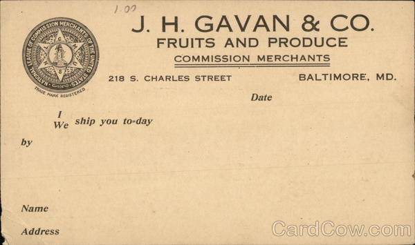 J. H. Gavan & Company Fruits and Produce Advertising