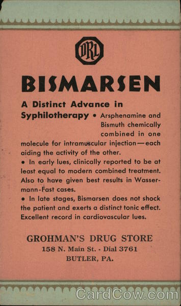 Bismarsen, a Distinct Advance in Syphilotherapy Advertising