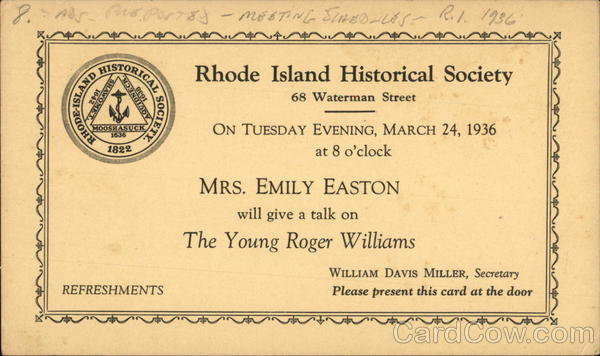 Invitation to a speech about the Young Roger Williams by Mrs, Emily Easton Rhode Island