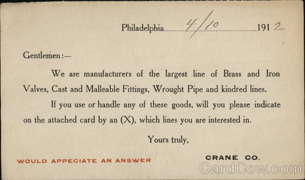 Crane Company -  Brass & Iron Valves, Pipes Advertising