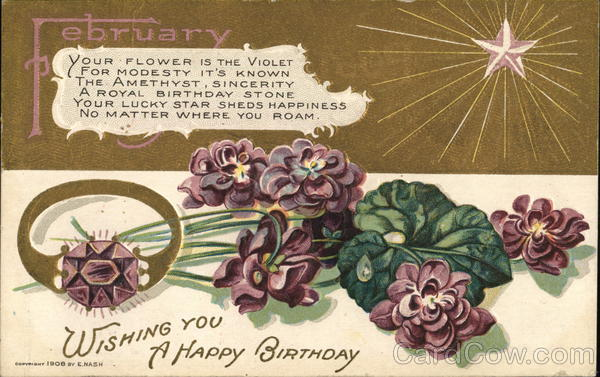 February - Wishing you a happy birthday - violets, amethyst and star