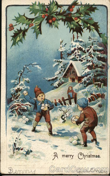 A Merry Christmas - children playing in the snow