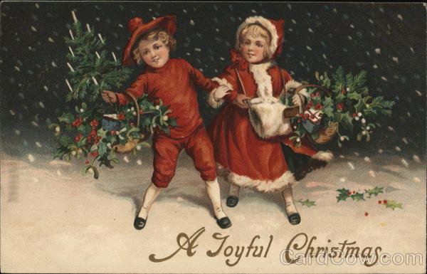A Joyful Christmas - children in the snow iwith baskets of evergreen