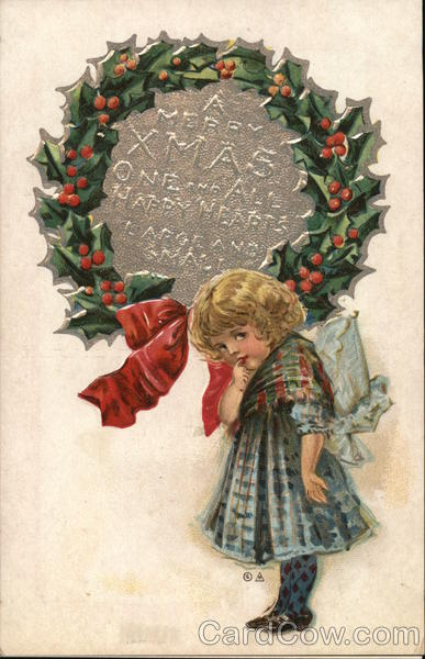A Merry Xmas One and All Happy Hearts large and small - girl under wreath