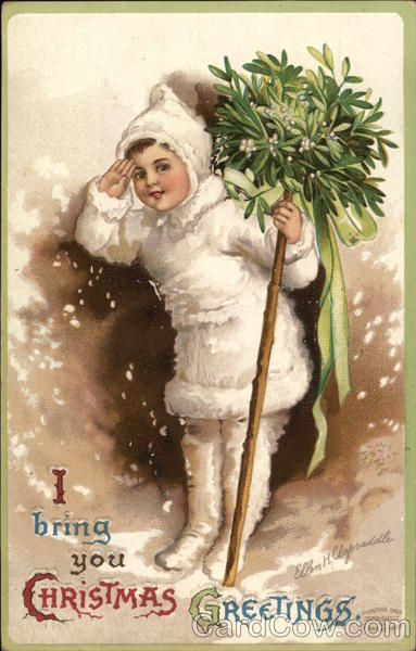 I bring you Christmas greetings - child in the snow with mistletoe