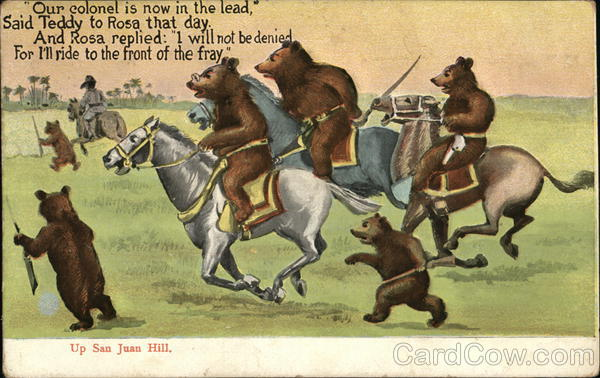 soldier bears riding horses into battle postcard