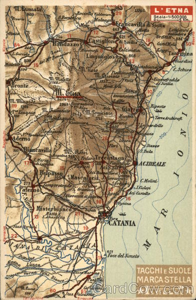 L'Etna Mar Ionio Map - Pirelli Advertising Italy Maps