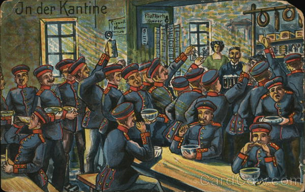 Soldiers Dressed in Blue Uniforms at a Tavern Military