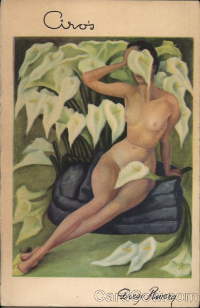 Ciro's Lillies Oil Diego Rivera Risque & Nude