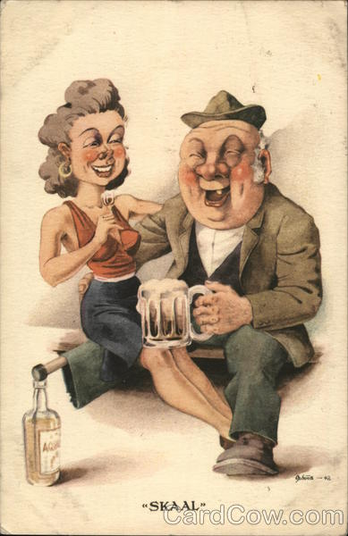 Skaal - man with peg leg propped on a bottle and a woman on his lap drinking