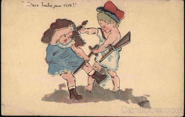 J'etais boche pour rire! - Boy with Rifle Pulling Hair of Girl with Sword