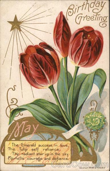 May Birthday greeting - tulips, star, emerald