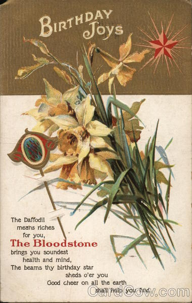 Birthday joys - Bloodstone and daffodils and a star