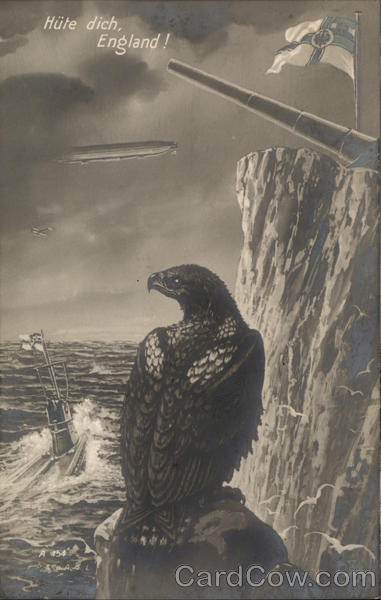 Hute Dich, England! Eagle on an ocean cliff with a flag, zeppelin and cannon