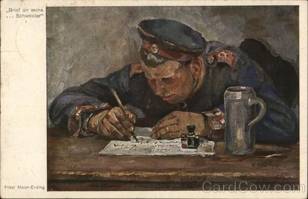 Man in Military Uniform Leaning Foward as He Writes With a Pen