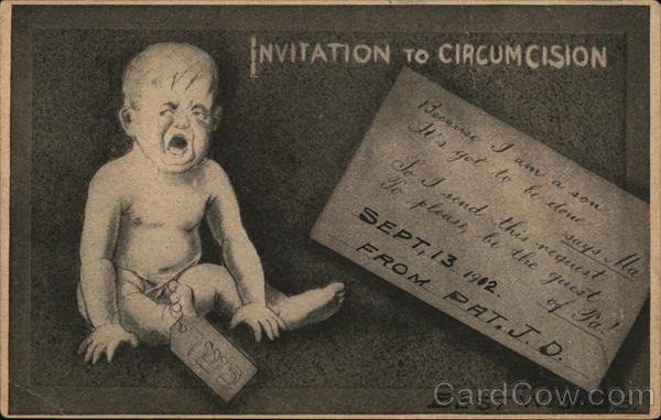 Invitation to Circumcision - Baby Boy crying with invitation details
