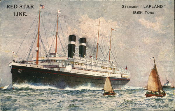 Steamer Lapland in the Water With Sailboats Nearby