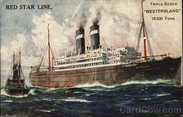 Red Star Line Triple-Screw Westernland 16,500 Tons