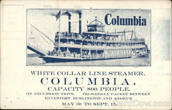 White Collar Line Steamer Columbia Davenport Iowa Steamers