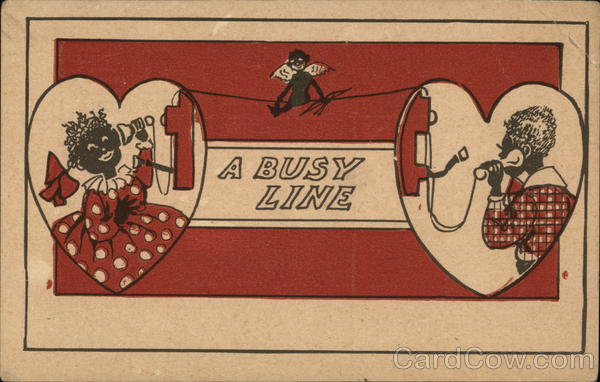 A busy line - girl talking to her grandmother with cupid on the line