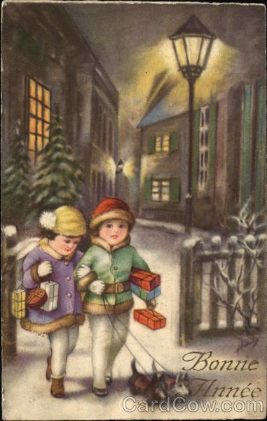 Bonne Annee - Children with packages walking dogs in the snow at night