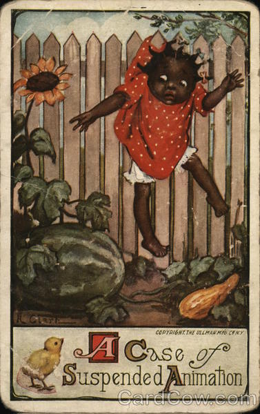 A case of suspended animation - girl stuck on a fence trying to get a watermelon