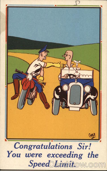 Man on a motorcycle shaking the hand of a man in a roadster