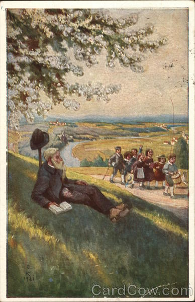 Group of Children Walking By Older Man with Book on Grassy Hill