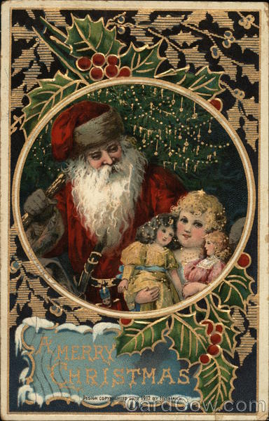 A Merry Christmas - Santa with a girl holding dolls