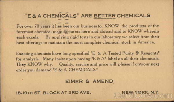 Text Only: E & A Cheicals are Better Chemicals Advertising