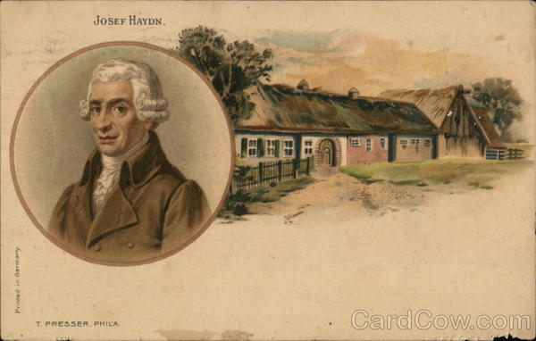 Josef Haydn - portrait and picture of his house Composers