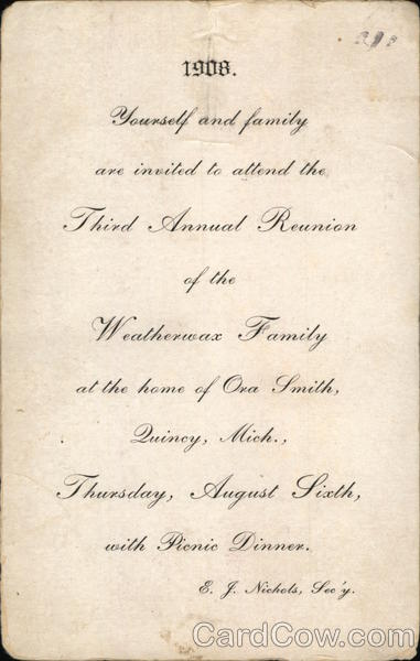 Invitation to family reunion Postal Cards & Correspondence
