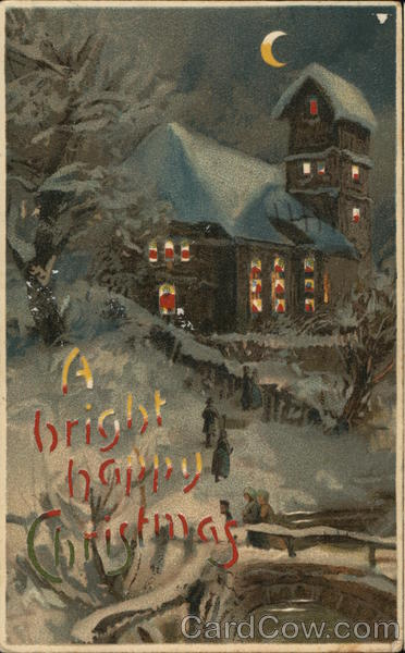 A Bright happy Christmas - house at night in winter