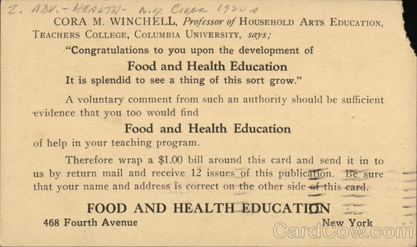 Cora M. Winchell, Professor of Household Arts Education