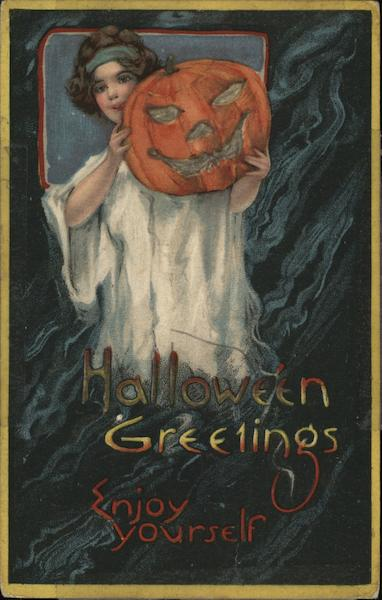 Halloween Greetings Enjoy Yourself - girl holding jack o lantern