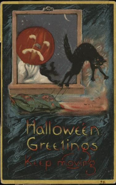 Halloween Greetings Keep Moving - jack o lantern looking at a black cat through the window