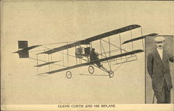 Glenn Curtis and his biplane - plan and portrait