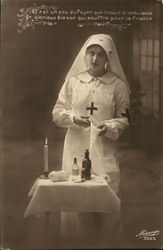 Nurse in White With Crosses on Arm and Chest Postcard