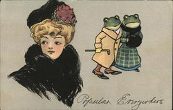 Frogs in coats looking at a women in hat and fur - Popular everywhere