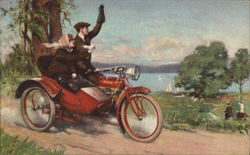 Man and Woman On Red Motorcycle with Sidecar