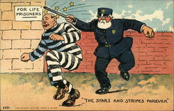 For Life Prisoners Stars and Stripes forever - policeman hitting a criminal who sees stars Postcard