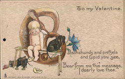 To my valentine - cupid on a pretzel with a dachshund