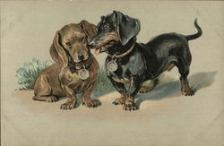 Painting of Dachshund puppies