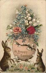 A Happy Easter - rabbits with flowers