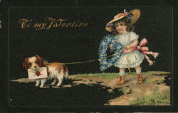 Girl and Dog Delivering Floral Wreath