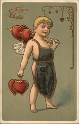 Cupid With Hearts on an Arrow Over His Shoulder