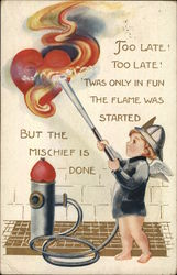 Boy extinguising a fire in a heart Postcard