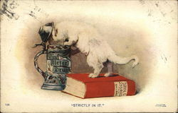Strictly in it - Cat standing on a book (Droll Stories) poking its head into a beer stein