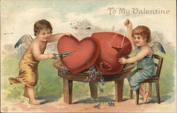 To my valentine - Cupids cutting and sewing hearts